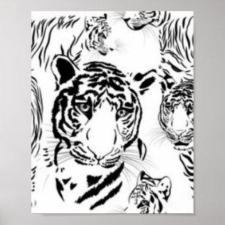 Black White Tigers Pattern Print Design