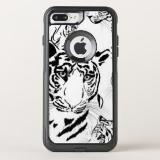 Black White Tigers Pattern Print Design OtterBox Commuter iPhone 8 Plus/7 Plus Case