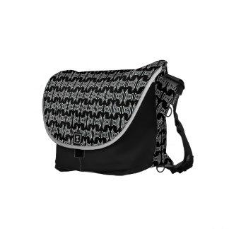 black white tiki pattern courier bags