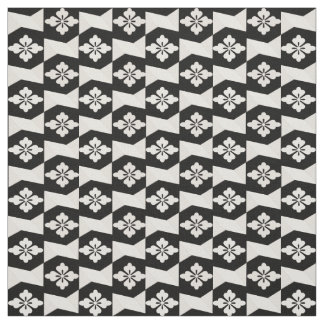Black White Tiles Fabric