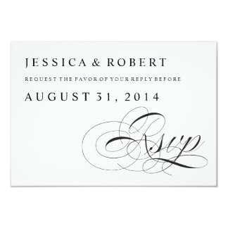 Black & White Traditional Wedding RSVP Card 9 Cm X 13 Cm Invitation Card