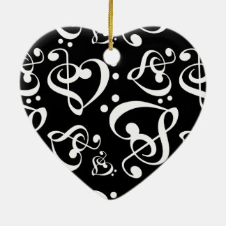 Black White Treble Bass Clef Heart Music Christmas Ceramic Heart Decoration