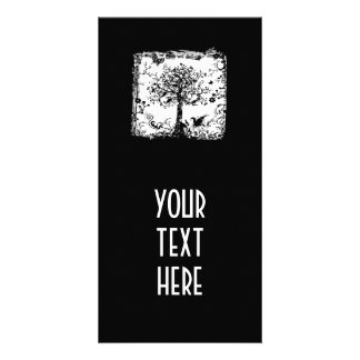 Black & White Tree Butterfly Silhouette Photo Greeting Card