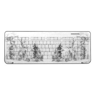 Black White Trees Sketch Wireless Keyboard