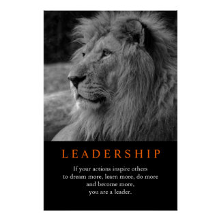 Black & White Trendy Motivational Leadership Lion Poster