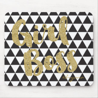 Black & White Triangles GIRL BOSS Faux Gold Office Mouse Pad