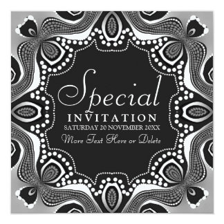 Black White Tribal Goddess Art Party Invitation