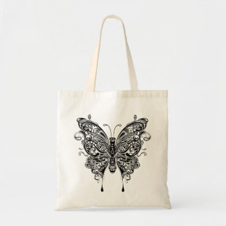 Black White Tribal Style Butterfly Tote Bag