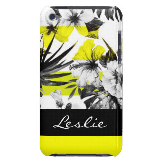 Black White Tropical Flower Abstract Design iPod Case-Mate Cases