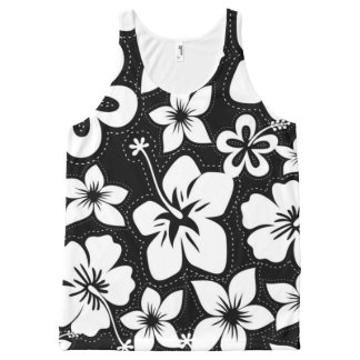 Black White Tropical Hawaiian Luau Hibiscus All-Over Print Singlet