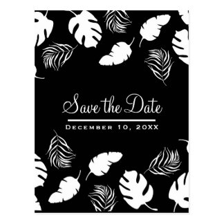 Black & White Tropical Leaves Chic Save the Date Postcard