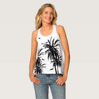 Black & White Tropical Palm Trees Circling Hawks Singlet