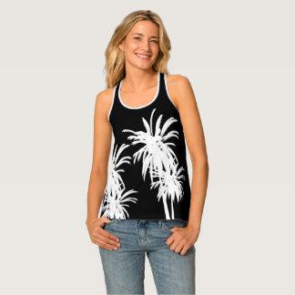 Black & White Tropical Palm Trees Retro Singlet