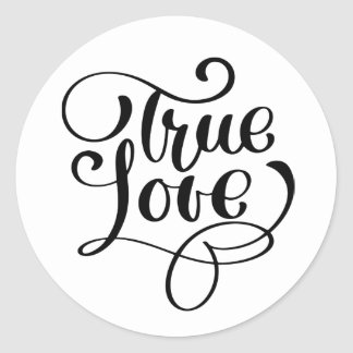Black & White True Love Typography  Wedding Party Classic Round Sticker