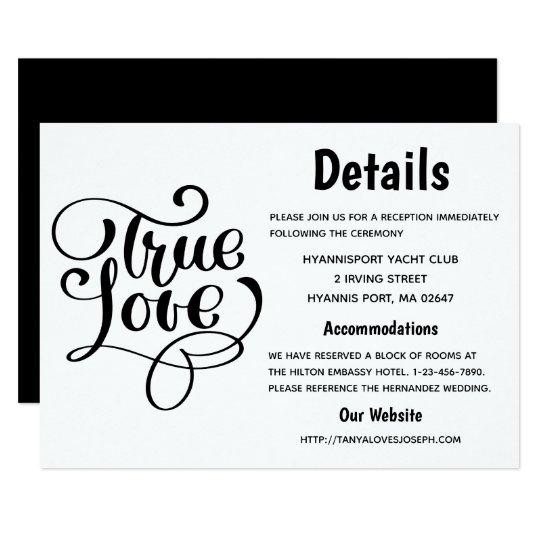 Black & White True Love Wedding Details Typography Card