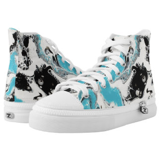 Black, White, & Turquoise Abstract High Tops
