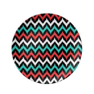 Black, White, Turquoise and Coral Zigzag Ikat Plate