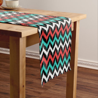Black, White, Turquoise and Coral Zigzag Ikat Short Table Runner