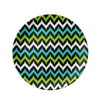 Black, White, Turquoise and Green Zigzag Ikat Plate