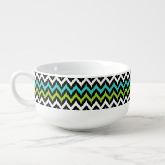 Black, White, Turquoise and Green Zigzag Ikat Soup Bowl With Handle