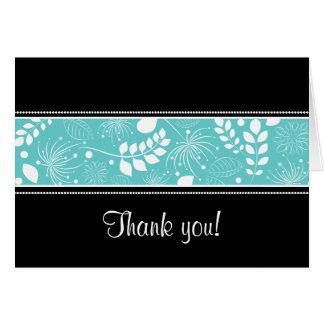 Black white turquoise border Thank you card