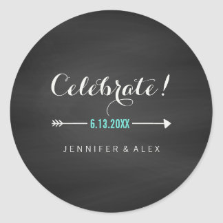 Black White Turquoise Chalkboard Celebrate Wedding Round Sticker