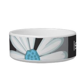 Black White Turquoise Flower Daisy Tattoo Pattern Cat Water Bowls