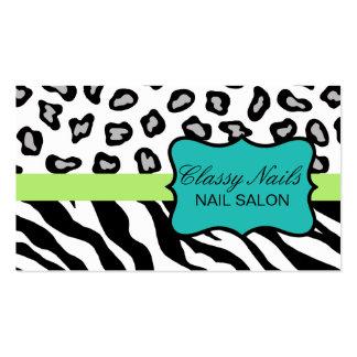 Black, White, Turquoise & Green Zebra & Cheetah Pack Of Standard Business Cards