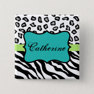 Black White Turquoise Zebra Leopard Name Badge