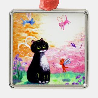 Black White Tuxedo Cat Fairies Creationarts Metal Ornament