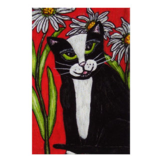 Black White Tuxedo Cat White Daisies Red Poster