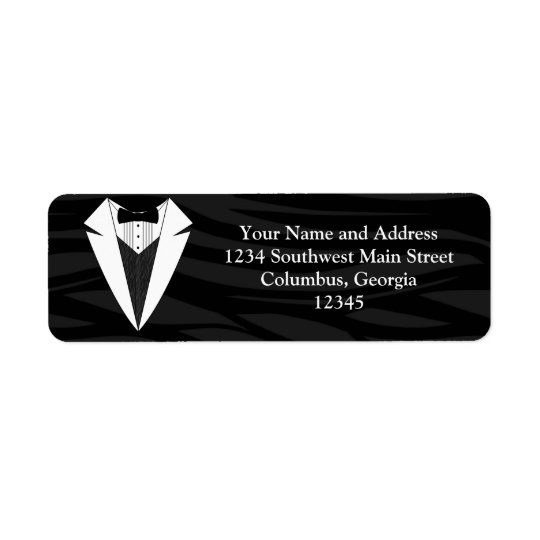 Black/White Tuxedo Return Address Label