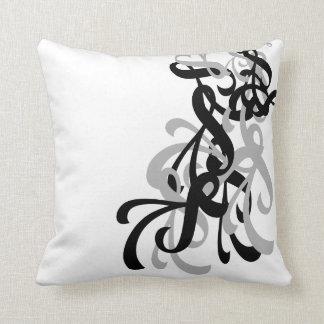 Black & White Twirl Throw Pillow