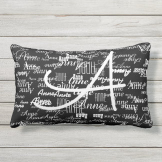 black & white typography pillow to add name