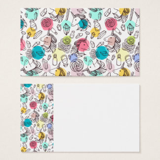 Black & White Unicorn Sketch - Colorful Polka Dots Business Card