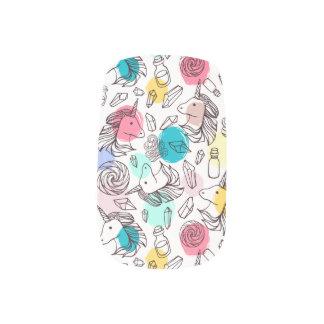 Black & White Unicorn Sketch - Colorful Polka Dots Minx Nail Art