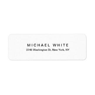 Black White Unique Modern Minimalist Plain Return Address Label