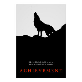 Black White Unique Motivational Wolf Poster Print