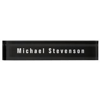Black White Unique Personal Business Nameplate