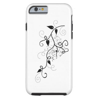 Black & white vector ivy swirl branch silhouette tough iPhone 6 case