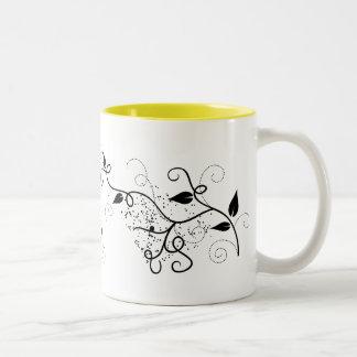 Black & white vector ivy swirl branch silhouette mug