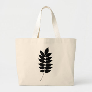 Black & white vector laurel branch silhouette jumbo tote bag