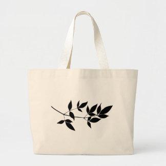 Black & white vector leaves branch silhouette jumbo tote bag