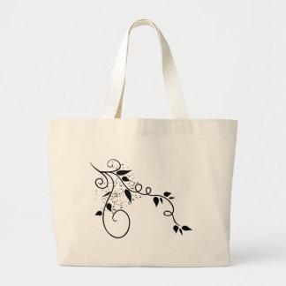 Black & white vector swirl branch silhouette jumbo tote bag