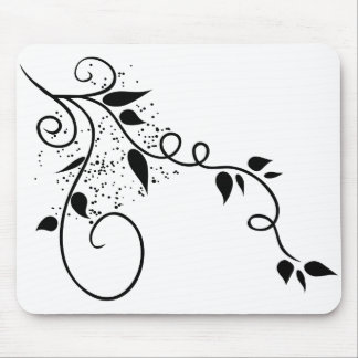 Black & white vector swirl branch silhouette mouse pad