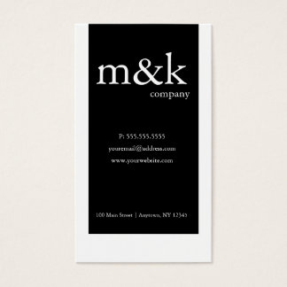 Black & White Vertical Company or Personal Business Card