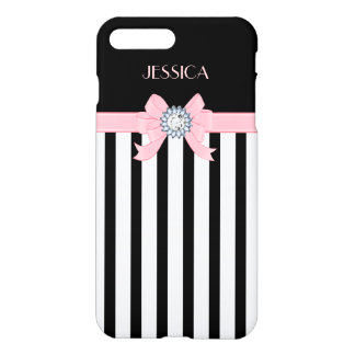 Black & White Vertical Stripes With Pink Ribbon iPhone 8 Plus/7 Plus Case