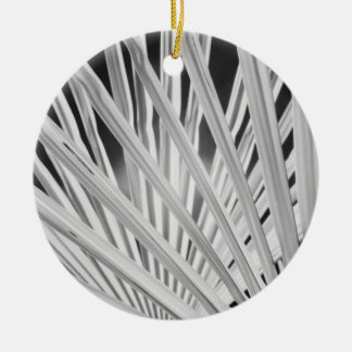 Black & White view of palm tree fronds Round Ceramic Decoration