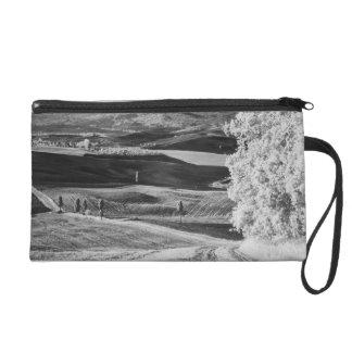 Black & White view of winding road Wristlet