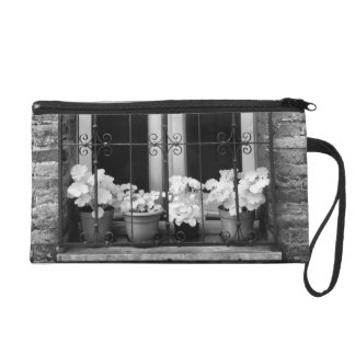 Black & White view of window and flower pots Wristlet Clutch